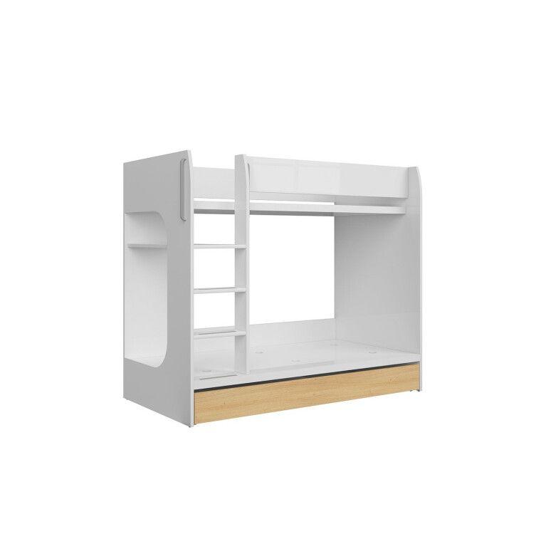 Двухъярусная кровать BRW Princeton   Белый / Дуб польский - 3