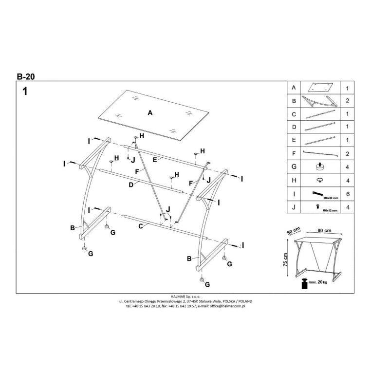 Стол компьютерный Halmar B-20 | Прозрачный - 2