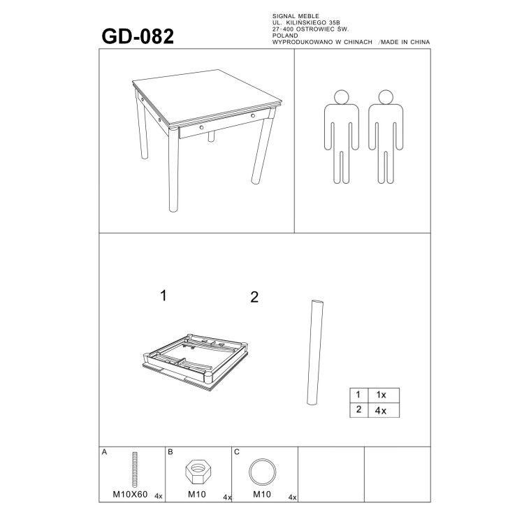 Cтол обеденный раскладной Signal GD-082   Белый - 2