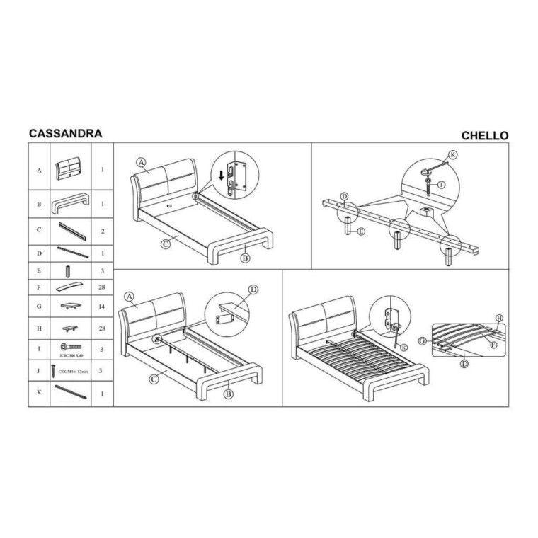 Кровать Halmar Cassandra | 160х200 / Белый / Черный - 2