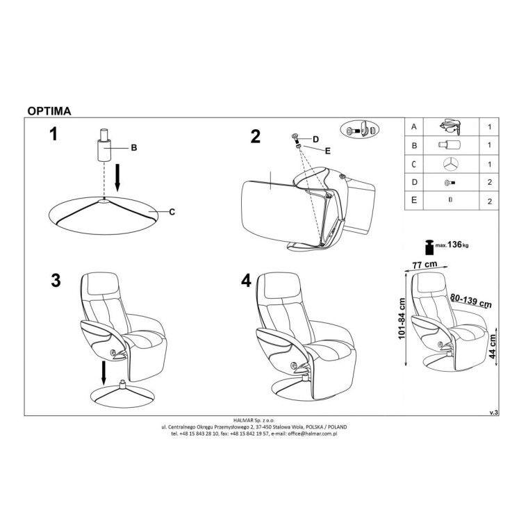 Кресло раскладное Halmar Optima | Серый - 3