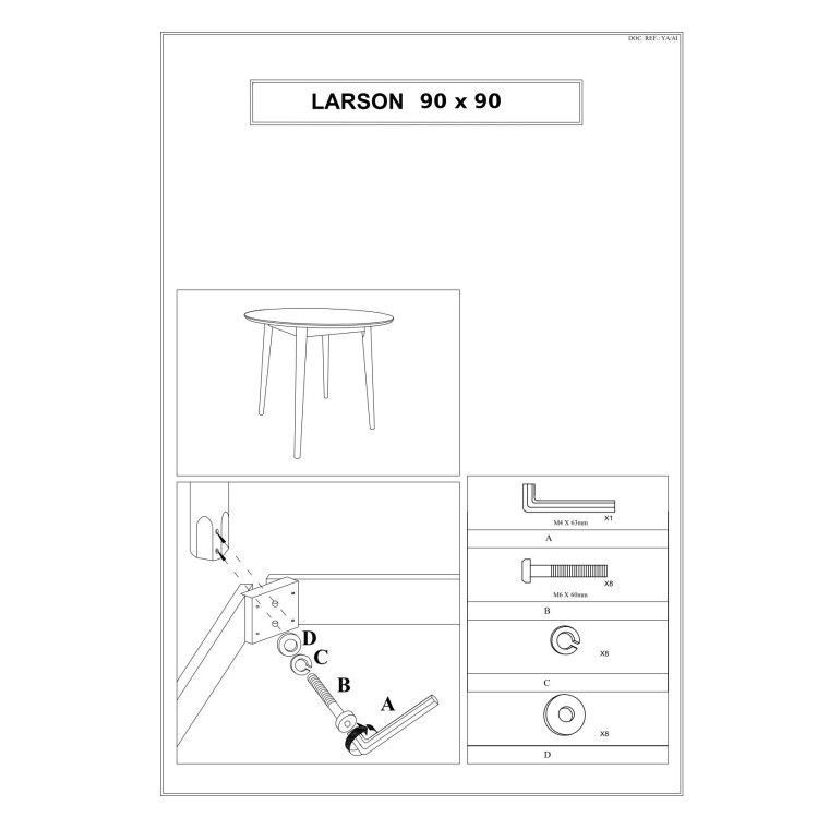 Стол обеденный Signal Larson | 90х90 / Белый - 3