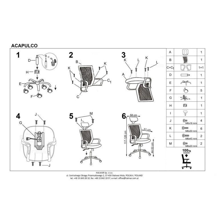 Кресло поворотное Halmar Acapulco | Черный / Зеленый - 2