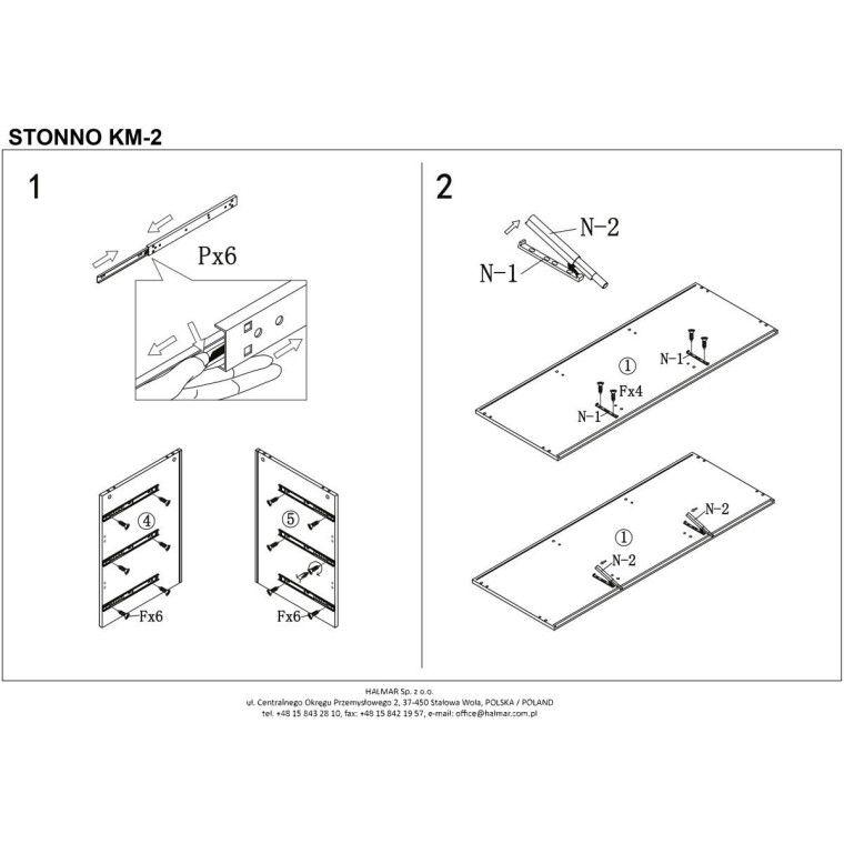 Комод Halmar Stonno КМ2 | Белый / бетон - 3