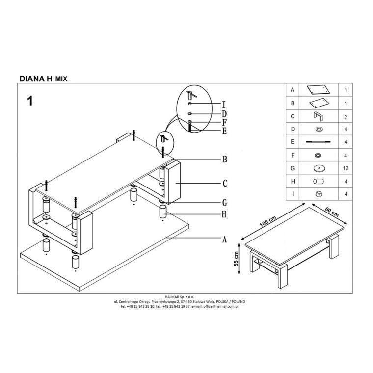 Стол журнальный Halmar Diana H Mix  | Дуб Сонома / Белый - 2