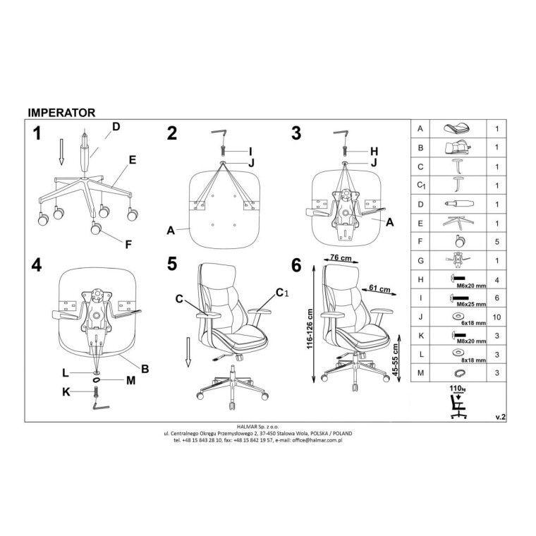 Кресло поворотное Halmar Imperator | Черный - 4