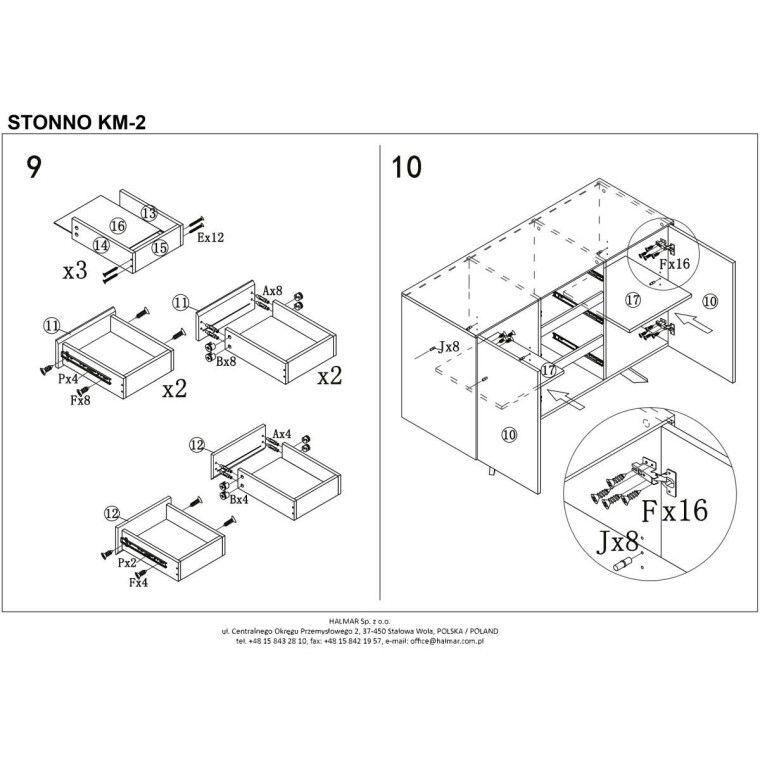Комод Halmar Stonno КМ2 | Белый / бетон - 7