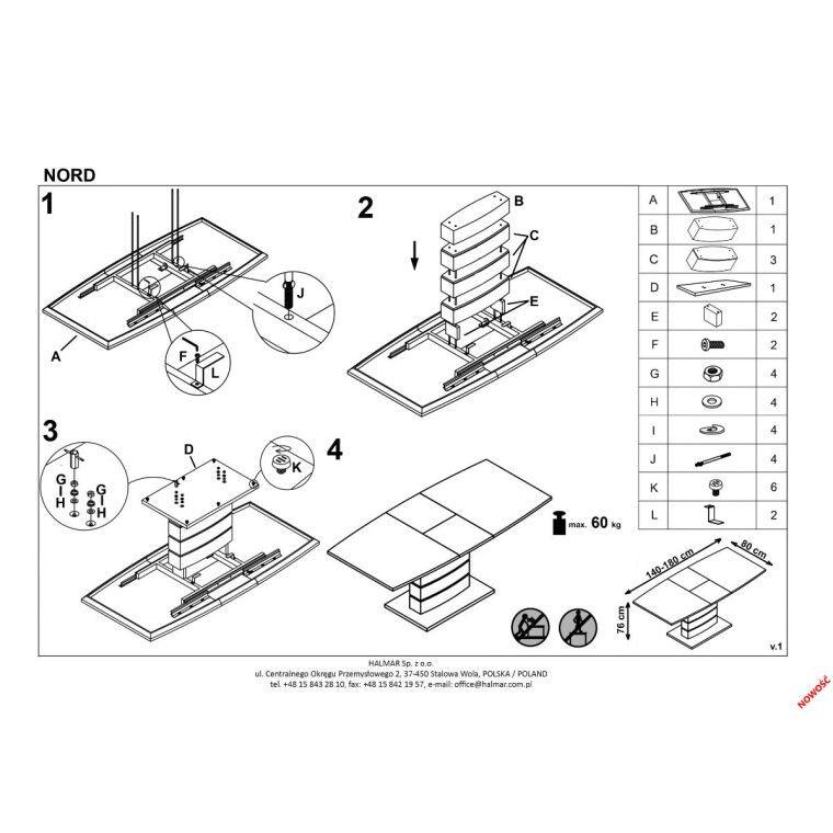 Стол раздвижной Halmar Nord | Белый / черный - 2