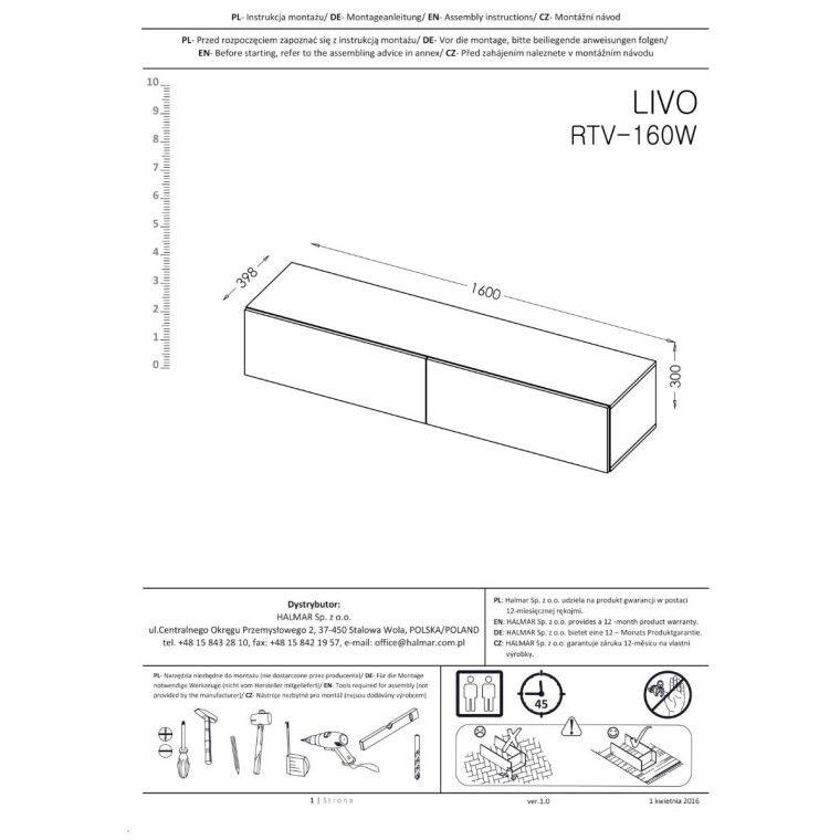 Тумба под ТВ Halmar Livo RTV-160W   Белый - 4
