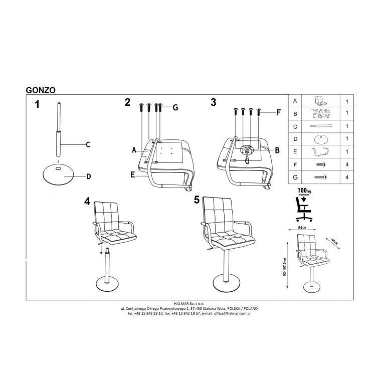Кресло поворотное Halmar Gonzo | Белый - 4