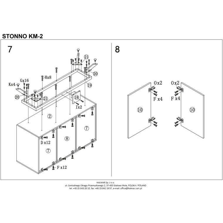 Комод Halmar Stonno КМ2 | Белый / бетон - 6