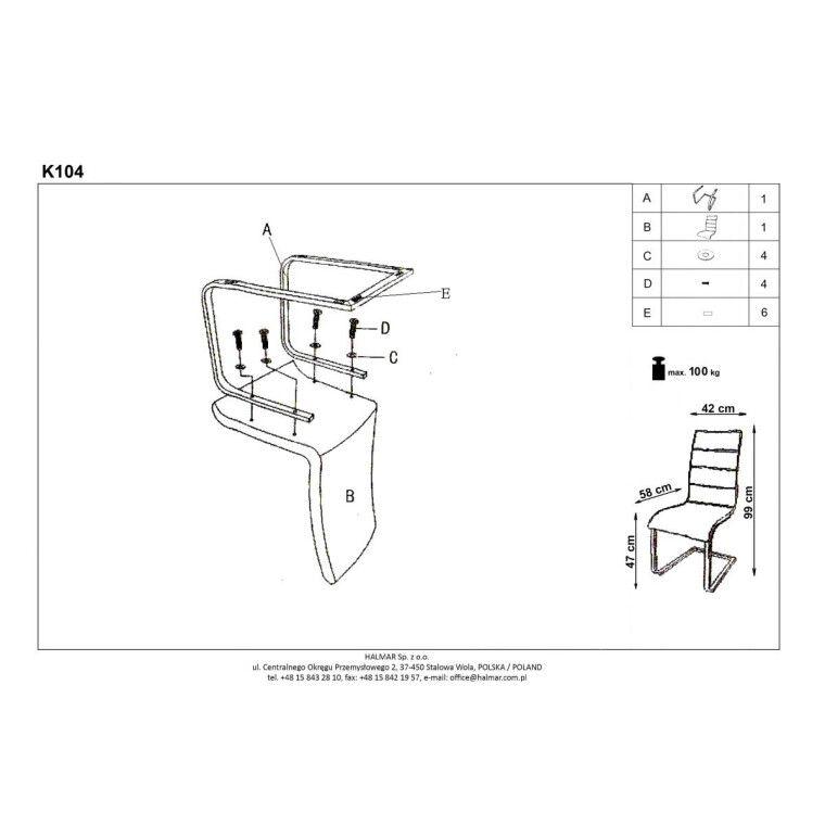 Стул Halmar K104 | Ткань / Черный / белый - 3