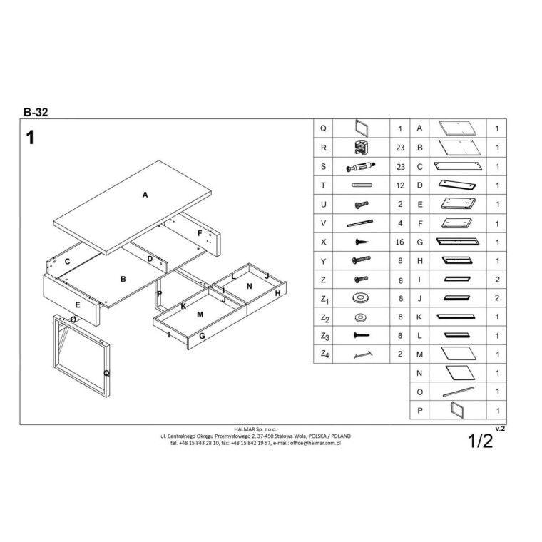 Стол письменный Halmar B-32 | Белый - 2