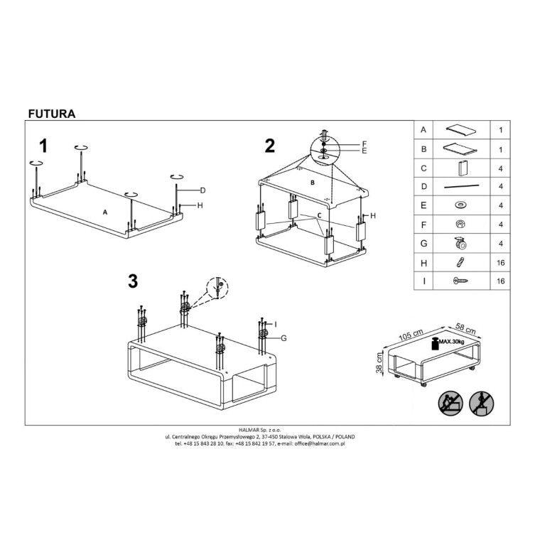 Стол журнальный Halmar Futura | Белый - 2