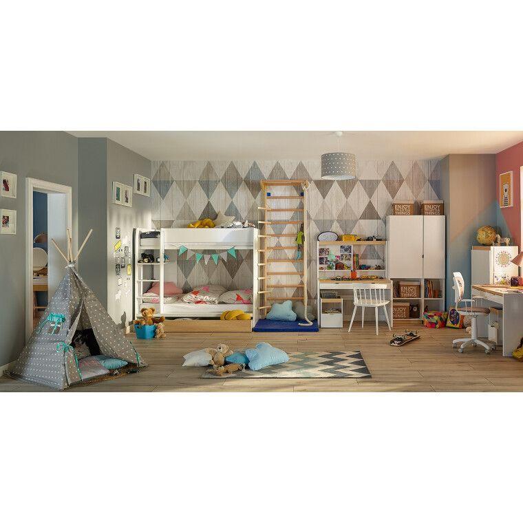 Двухъярусная кровать BRW Princeton | Белый / Дуб польский - 5