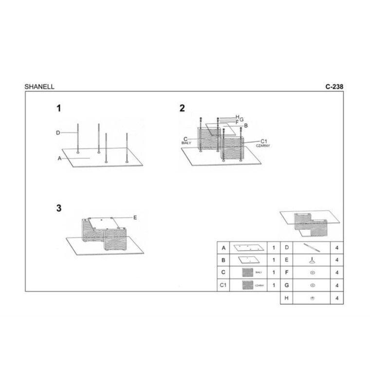 Стол журнальный Halmar Shanell | Белый / Черный - 2