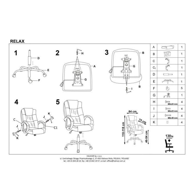 Кресло поворотное Halmar Relax | Серый - 3
