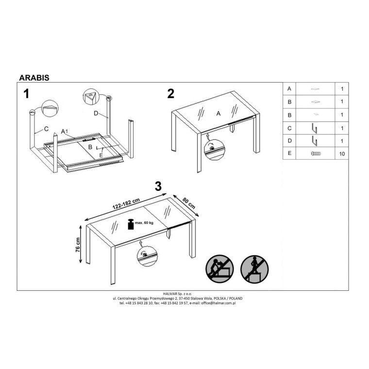 Стол раздвижной Halmar Arabis | Коричневый / бежевый - 2
