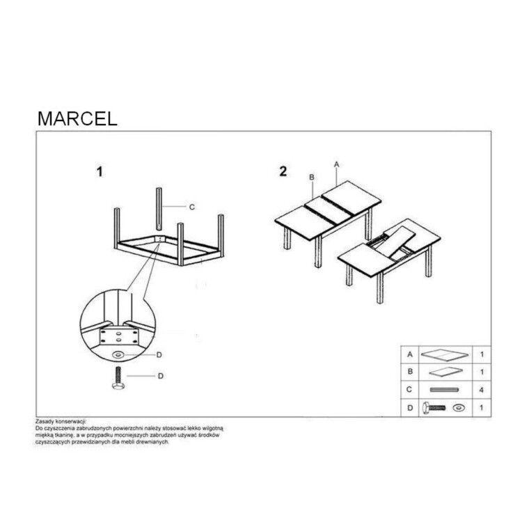 Стол раздвижной Halmar Marcel | Темный орех - 2