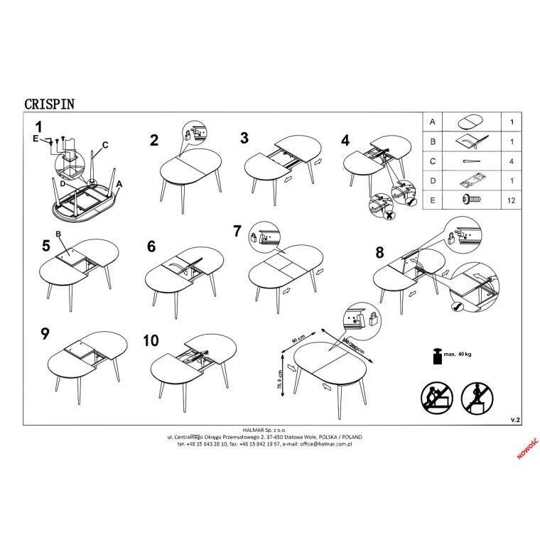Стол раскладной Halmar Crispin | Белый / серый - 2