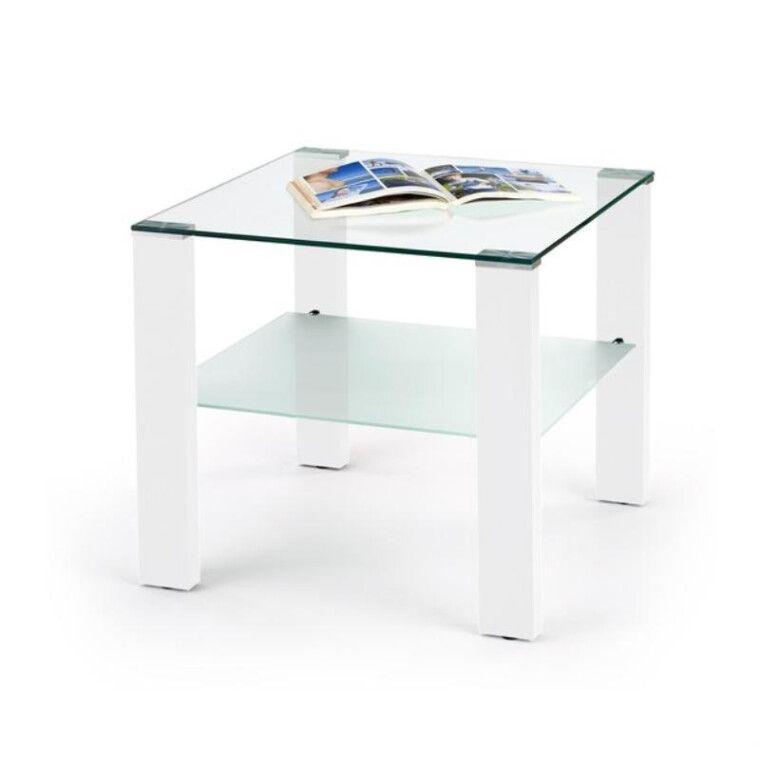 Стол журнальный Halmar Simple H квадратный | Прозрачный / Белый