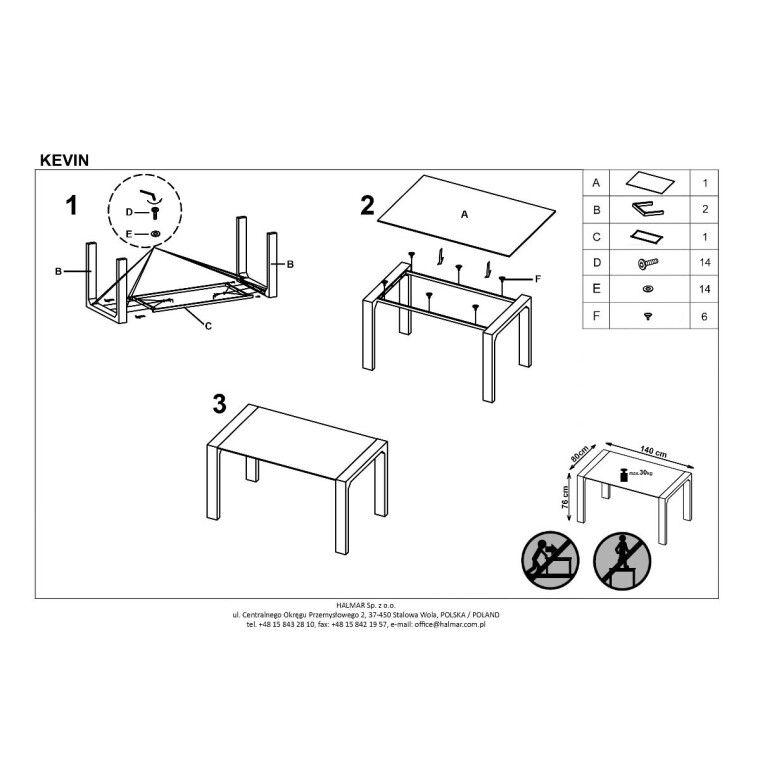Стол обеденный Halmar Kevin | Черный - 2
