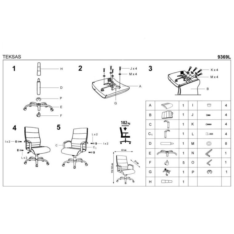 Кресло поворотное Halmar Teksas | Черный / Натуральная кожа - 3