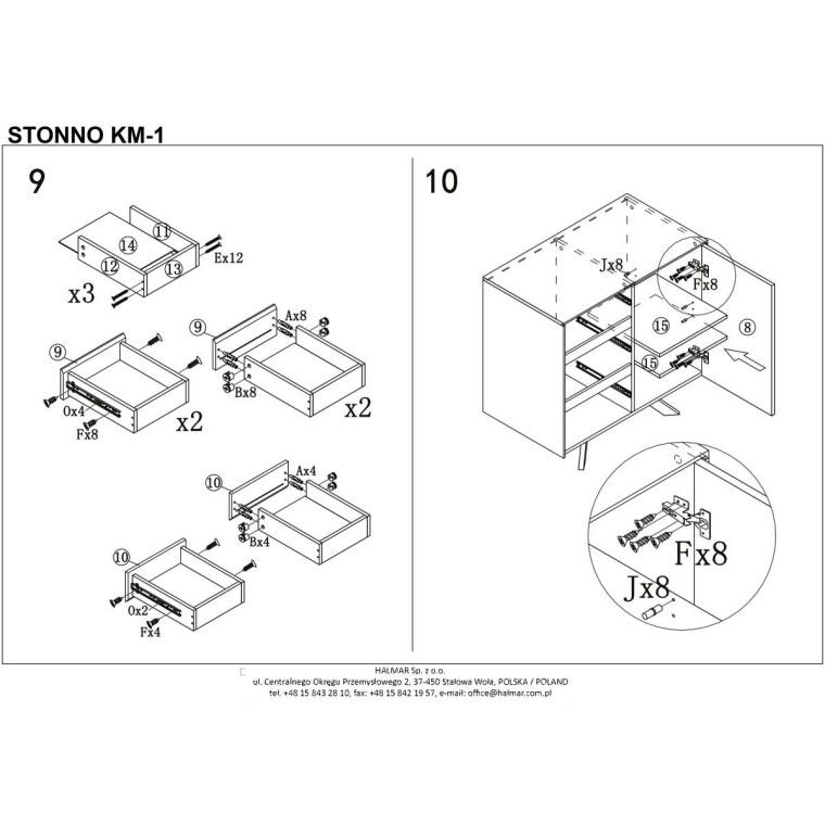 Комод Halmar Stonno КМ1 | Белый / бетон - 7