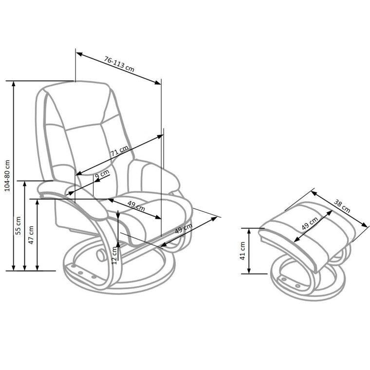 Кресло массажное с подставкой для ног Halmar Matador | Бежевый - 3