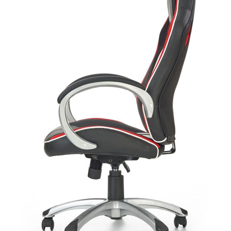 Кресло поворотное Halmar Roadster  | Черный / Красный / Белый фото - 3