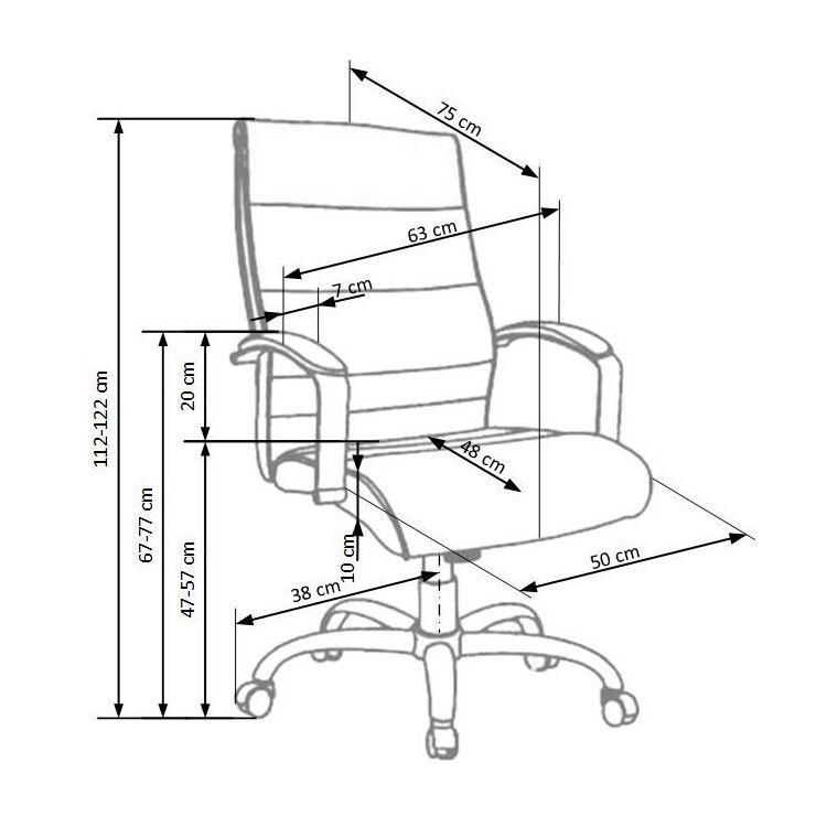 Кресло поворотное Halmar Teksas | Черный / Натуральная кожа - 2