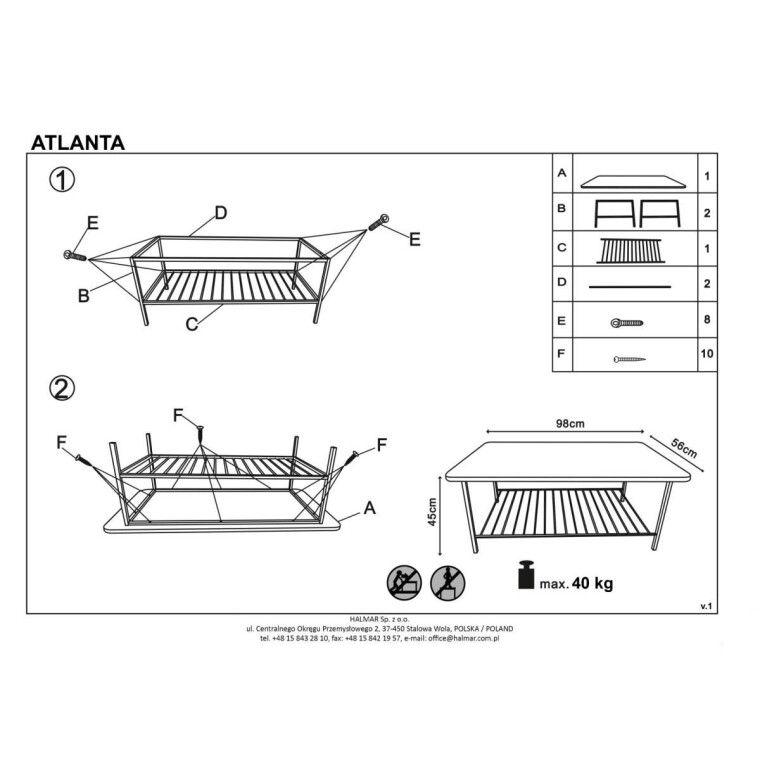 Стол журнальный Halmar Atlanta | Черный - 4