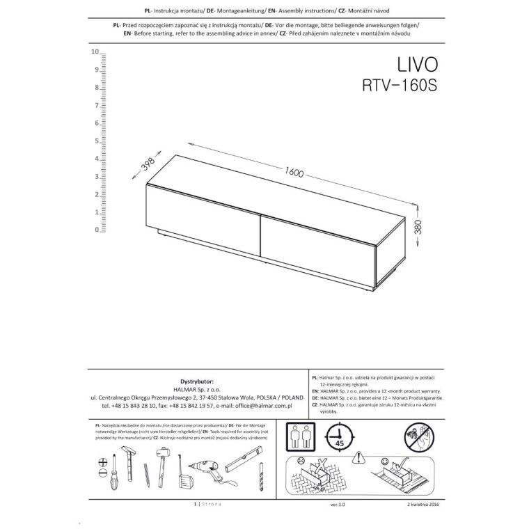 Тумба под ТВ Halmar Livo RTV-160S | Белый - 3
