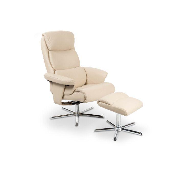 Кресло с подставкой для ног Halmar Mayer   Кремовый