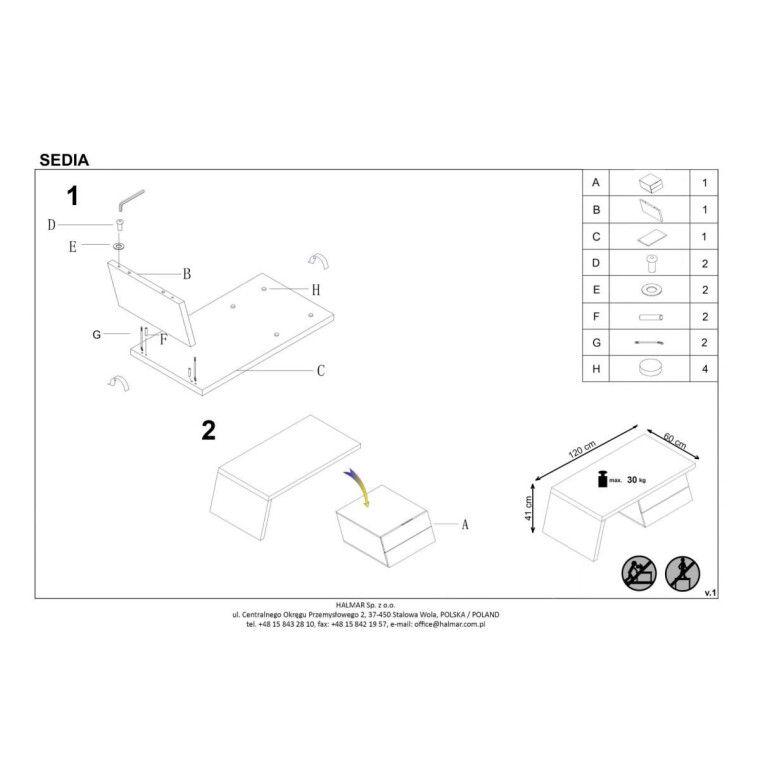 Стол журнальный Halmar Sedia | Бетон / Белый - 2