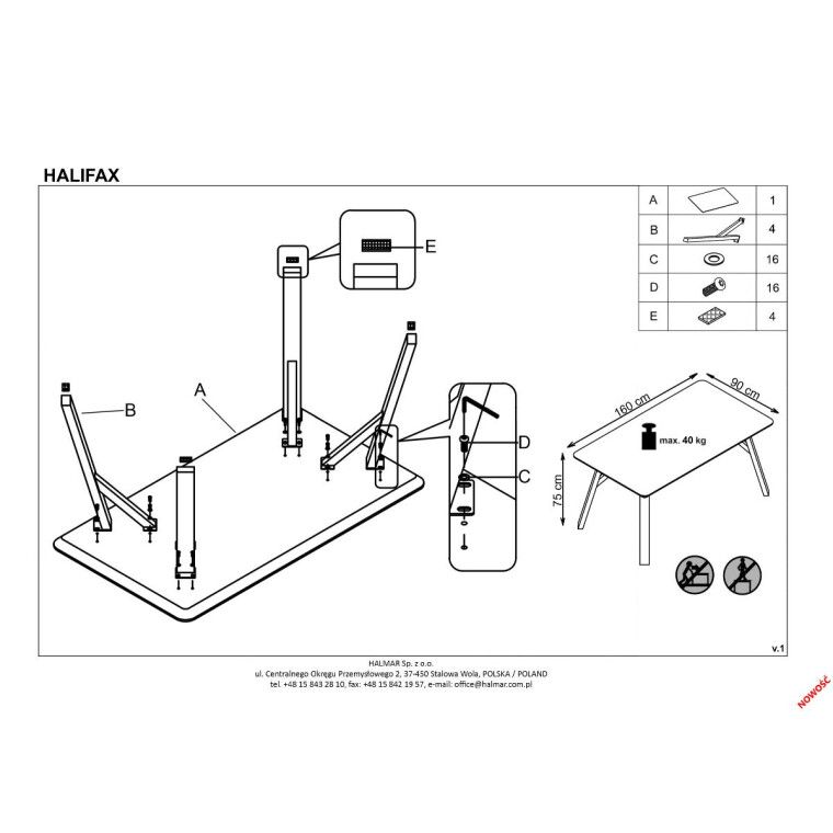 Стол обеденный Halmar Halifax | Бетон - 2