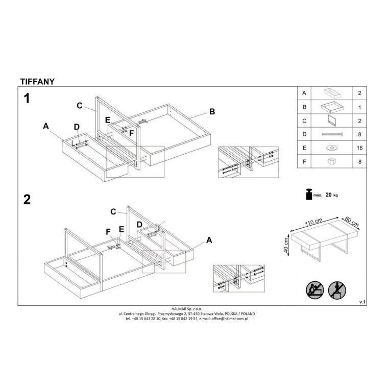 Стол журнальный Halmar Tiffany | Бетон / Черный - 3