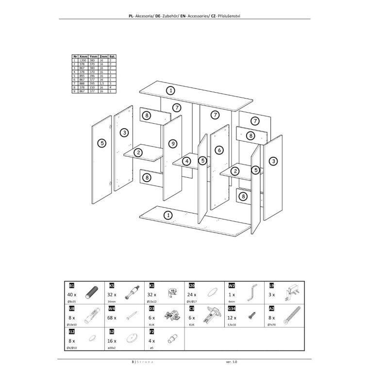 Комод подвесной Halmar Livo KM-120 | Черный - 3