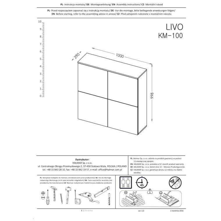 Комод Halmar Livo KM-100 | Белый - 2