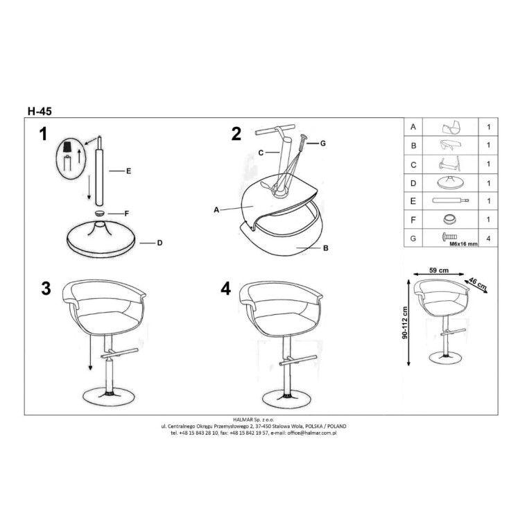 Стілець барний Halmar H-45 | Чорний / Світлий дуб - 2