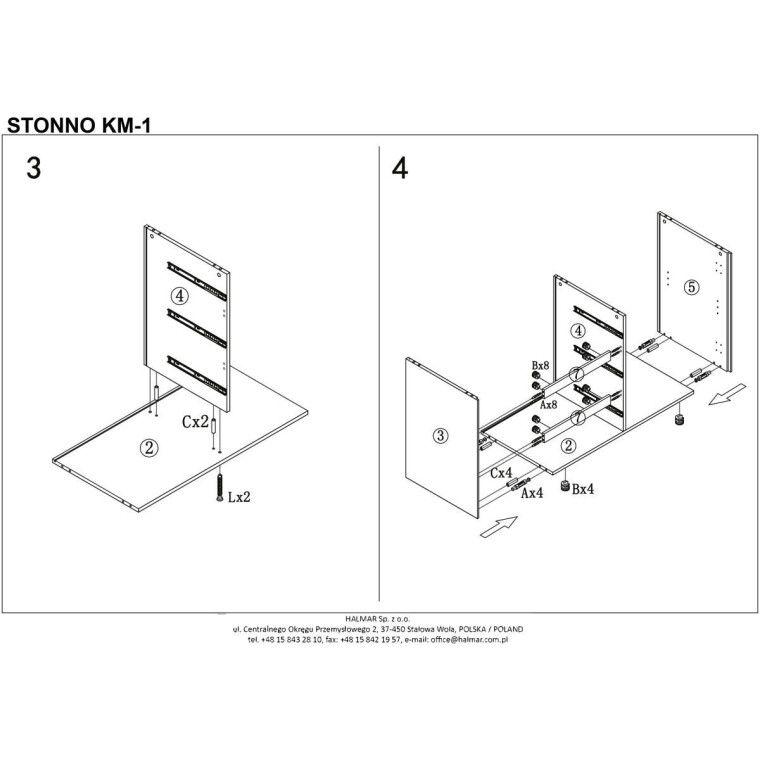 Комод Halmar Stonno КМ1 | Белый / бетон - 4