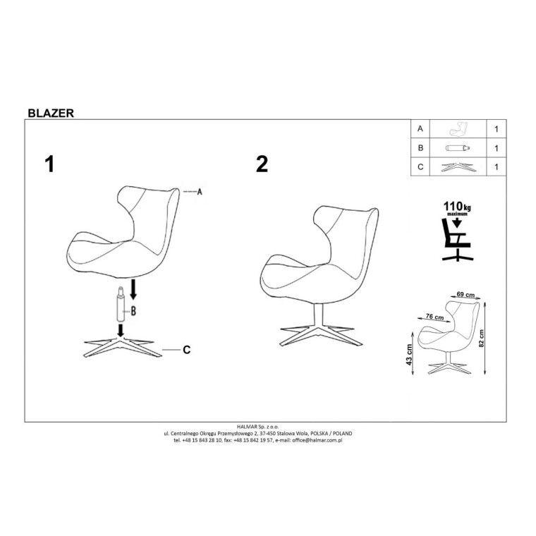 Кресло Halmar Blazer | Бирюзовый - 3