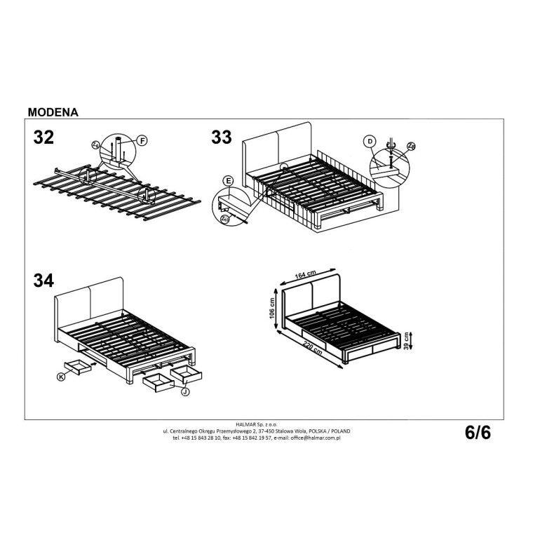Кровать Halmar Modena   140х200 / Серый - 4