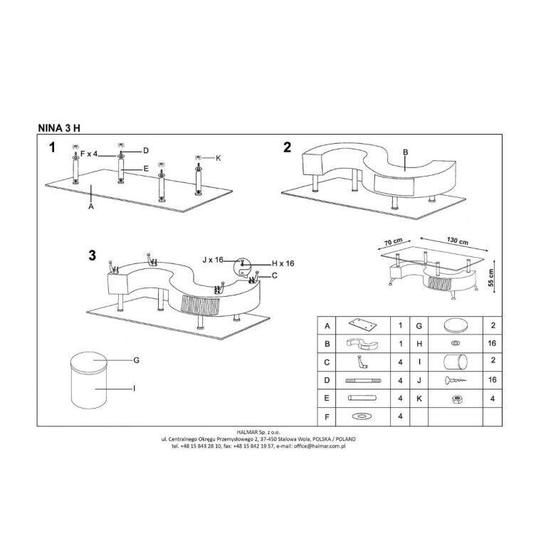 Стол журнальный с пуфиками Halmar Nina 3 H | Белый - 2