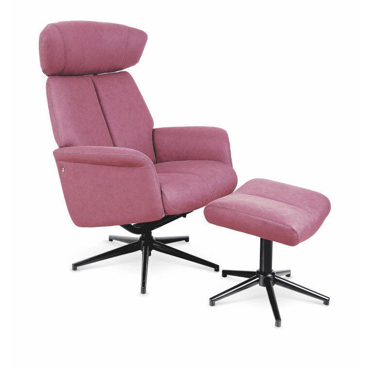Кресло с подставкой для ног Halmar Vivaldi | Розовый
