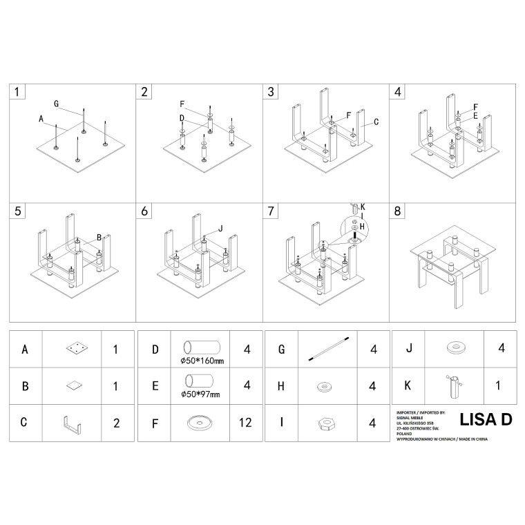 Столик журнальный Signal Lisa D basic | Дуб сонома - 2