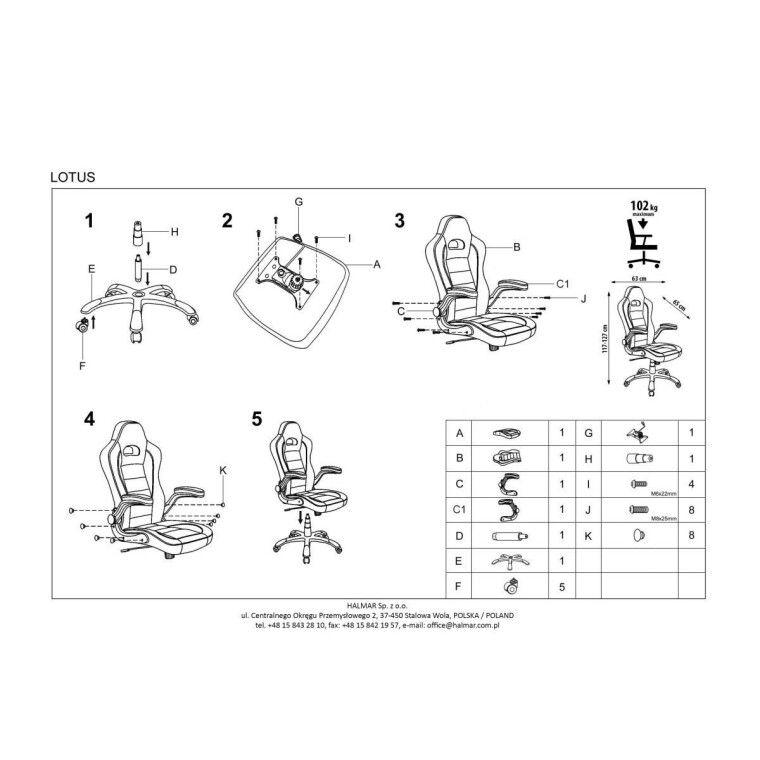 Кресло поворотное Halmar Lotus | Черный / серый - 2