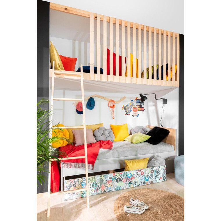 Ящик для кровати BRW Nandu | Светло-серый / Дуб / Белый глянец / Комикс - 4