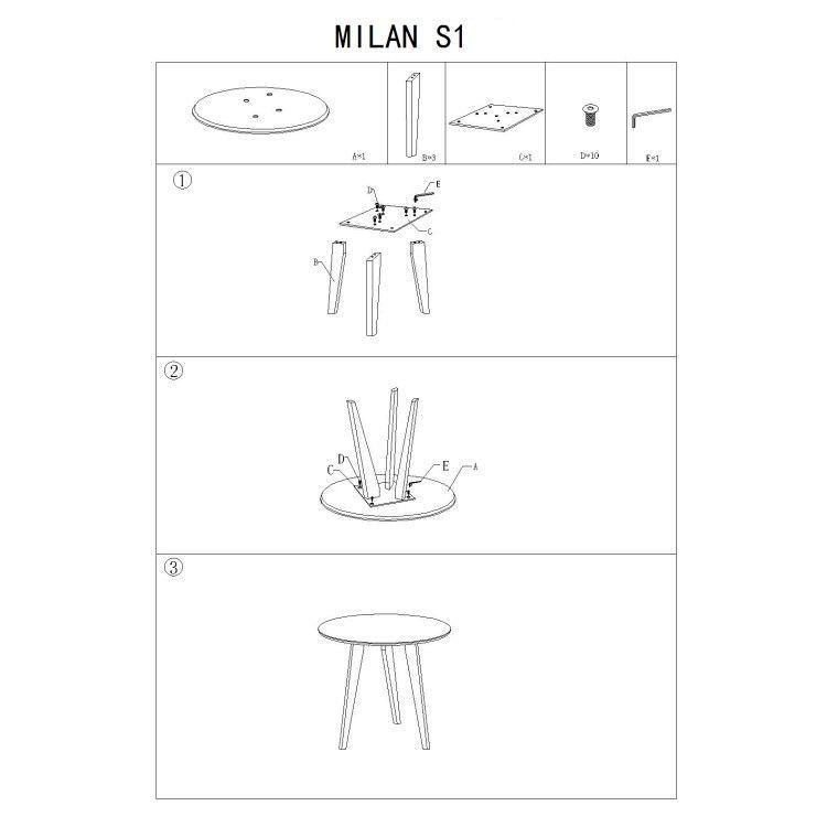 Столик Signal Milan S1 | Белый / дуб - 2