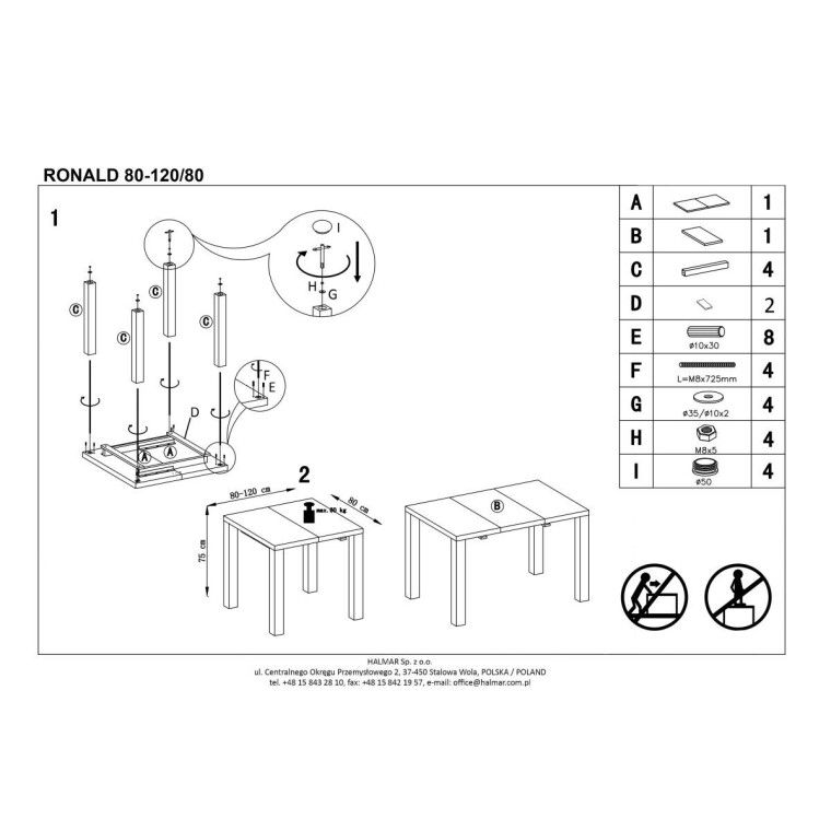 Стол раскладной Halmar Ronald   80х120 - 2